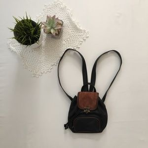 Mini Brown and Black Bucket Backpack